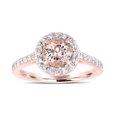 Pink Morganite Engagement Ring, With Diamonds Bridal Ring 14K Rose Gold 1.44ct