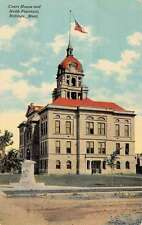 Billings Montana Court House Webb Fountain Street View Antique Postcard K21808
