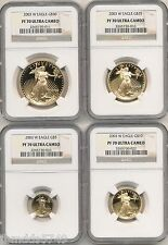2003 W 4 COIN GOLD EAGLE PROOF SET $50,$25,$10,$5 NGC PF70 NEW, PERFECT SLABS