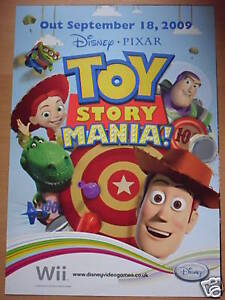 TOY STORY MANIA! VIDEOGAME DOUBLE-SIDED 2009 PROMO POSTER brand new !