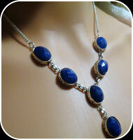 NATURAL BLUE Sapphire HAND CRAFTED VINTAGE NECKLACE 925 STERLING SILVER STUMPED