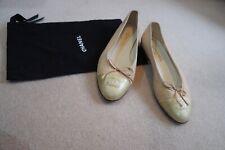 Chanel Ballet Pumps beige & Gold, worn once. Size 39/UK6