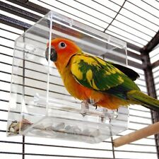 Acrylic Tidy Seed Bird Cage Bars Feeder Box Parrot Dry Food Hook Hanging Holder