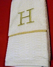 """Hand towel """"H"""" gold letter embroidered on white"""