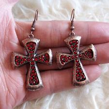 Cross Hookie Dangle Hook Earrings Casual Fashion Jewelry Womens Red Beads Stones