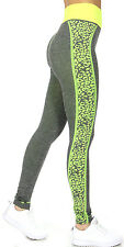 Fitness Leggings - Grey w/Bright Yellowish Green Cheetah Print Side Panels