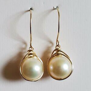 Pearl Drop Earrings 14K Yellow Gold Filled Wire Wrapped Pearl Earrings