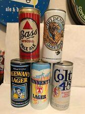 5 Uk 15.5 Oz Beer Cans, Bass, Colt 45, Heldenbrau, McEwan's, Tennent's