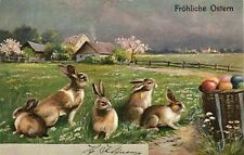 Easter bunnies in the field with egg basket beautiful German vintage postcard