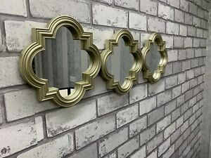 Set of 3 Melena Moroccan Mirrors Wall Hanging Mirrors Home Decor Modern - Gold