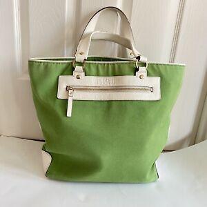 Kate Spade New York Lime Green Canvas Tote Bag Handbag Extra Large