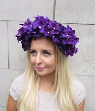 Large Dark Purple Hydrangea Rose Flower Garland Headband Headpiece Festival 2918