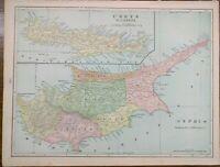 "Vintage 1900 CYPRUS & CRETE Atlas Map 14""x11"" ~ Old Antique Original NICOSIA"