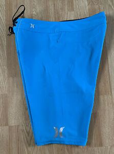 Bright Bold Blue Hurley Phantom High Performance Stretch Surf Board Shorts Sz 30