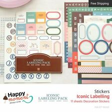 Iconic Labelling Stickers Crafting Kawaii Masking Journal Assortment 11 sheets
