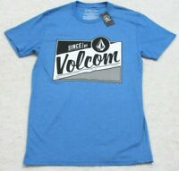 New Volcom Blue Black White Tee T-Shirt Cotton/Poly Crewneck Small Solid Top $25