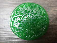 "Free shipping green Chinese jade ""blessing bless you"" lucky talisman pendant bat"