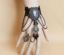 1L Boxed Gothic Victorian Vintage Crystal Drop Black Lace Cameo Bracelet