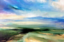 """Original Oil Painting Abstract Storms Signed Art 12"""" x 8"""""""