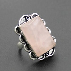 925 Sterling Silver Plated Rose Quartz Ring Size 8 US Ring Jewelry RJ176-61