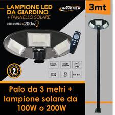 LAMPIONE SOLARE 100W 200W CON PALO METALLO 3 METRI CON TELECOMANDO LUCE BIANCA