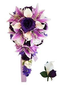 Cascade Bouquet and Boutonniere: Purple Lavender White Artificial Wedding Flower