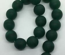 Czech Glass Beads ~ 30 x 10mm Teal Round Beads with flat bottoms