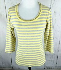 528582b64cde21 by CHICO S Ribbed Knit Striped Shirt Sz 1 Sequin Top 3 4 Sleeve Yellow Gray