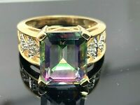 Large Iridescent Stone Diamond Ring 14k Yellow Gold Women's Estate Jewelry SZ 7