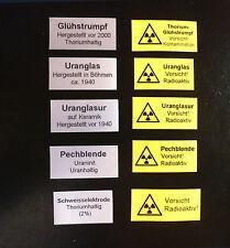 Glühstrumpf Uranglas Uranglasur Pechblende Prüfstrahler radioaktiv Geigerzähler