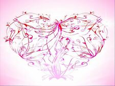 ART PRINT POSTER PAINTING DRAWING ABSTRACT SWIRLY FLORAL LOVE HEART LFMP0388