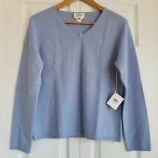 Talbots Womens Petite V-Neck Cashmere Sweater Blue Size PL Long Sleeve NWT