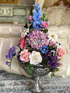 Vintage Miniature Dollhouse Gilhooley RARE Flat Back Urn Floral Arrangement Urn
