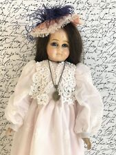 Antique 25� Papier Mache Glass Eyes Shoulder Head Doll Sawdust Cloth Body