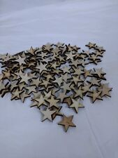 50 qty Small 1 1/2 inch Star Wood Embellishments Crafts Flag Wooden Decor DIY