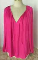 Jennifer Lopez Women's Top Pullover Long Sleeve V Neck Blouse Bright Pink Size M
