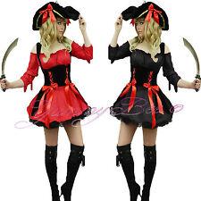 Pirate Costume Women Adult Fancy Dress Caribbean Captain Halloween Size 6-22 UK