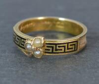 1871 Victorian 15ct Gold Pearl & Enamel Mourning Band Stack Ring d0200