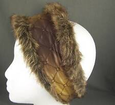 Gold Brown faux fur lined quilted ear warmer muffs head wrap hat cover ski