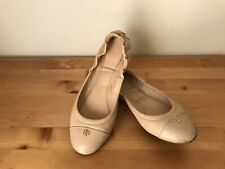 Tory Burch Women sz 7M-7.5M nude leather small logo ballet flats shoes