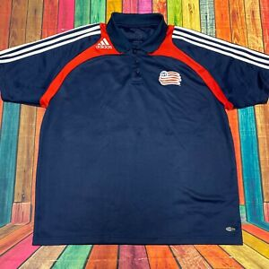 Adidas Athletic Soccer Polo Shirt | Mens XL, Navy Blue Red and White, Polyester
