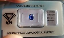 IGI Certified 0.87 carat Sri Lanka Natural Blue Transparent Oval Cut Sapphire