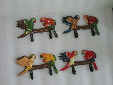 4 VINTAGE? DOUBLE WALL HANGERS IN SHAPE OF PAIR OF PARROTS, NIB