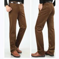 Winter Men's Business Casual Corduroy Pants Long Trousers Straight Loose Fit New