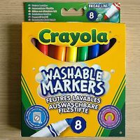 NEW - 8 CRAYOLA WASHABLE MARKERS - Broad Line Felt Tip Pens Pack  Bright Colours