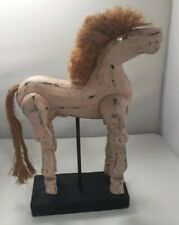 """Antique/Vintage Hand-Carved, Hand-Painted Jointed Wood Horse Approx 9"""" X13"""""""