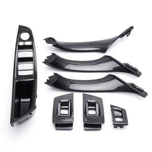 LHD Carbon Fiber ABS Interior Door Pull Handle Trim Parts For BMW 5 F10 F11 F18
