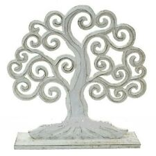 Whitewashed Hand Carved Wooden Tree of Life - Free Standing - Home Decor