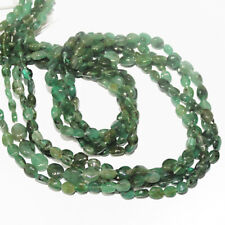 """Natural Green Emerald Smooth Oval Gemstone Loose Spacer Beads Strand 14"""" 4mm 5mm"""