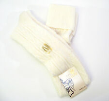 Calze Scanzi Italy Ladies Wool Blend Cuffed Knit OVER Knee Socks Ivory - NEW